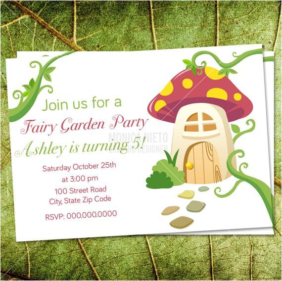 custom printable fairy garden party birthday