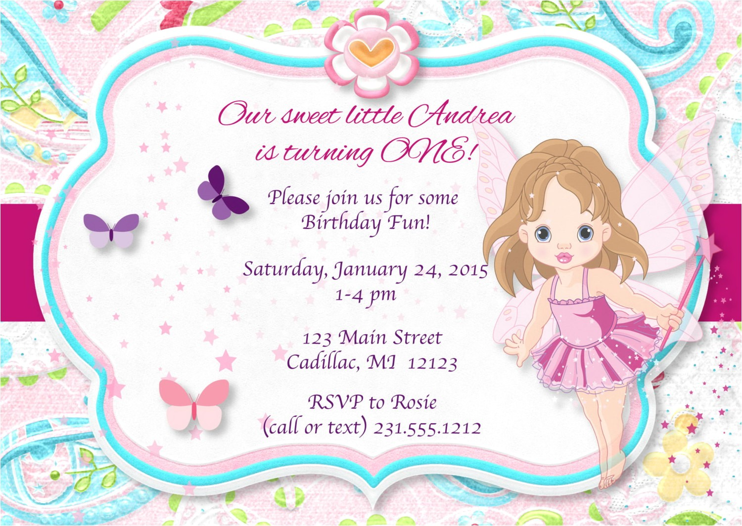 pink pixie fairy birthday invitation 1st