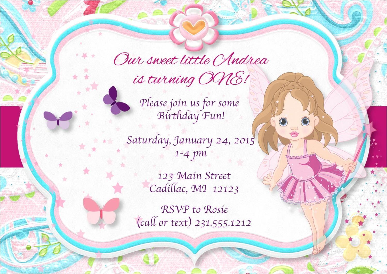 pink pixie fairy birthday invitation 1st