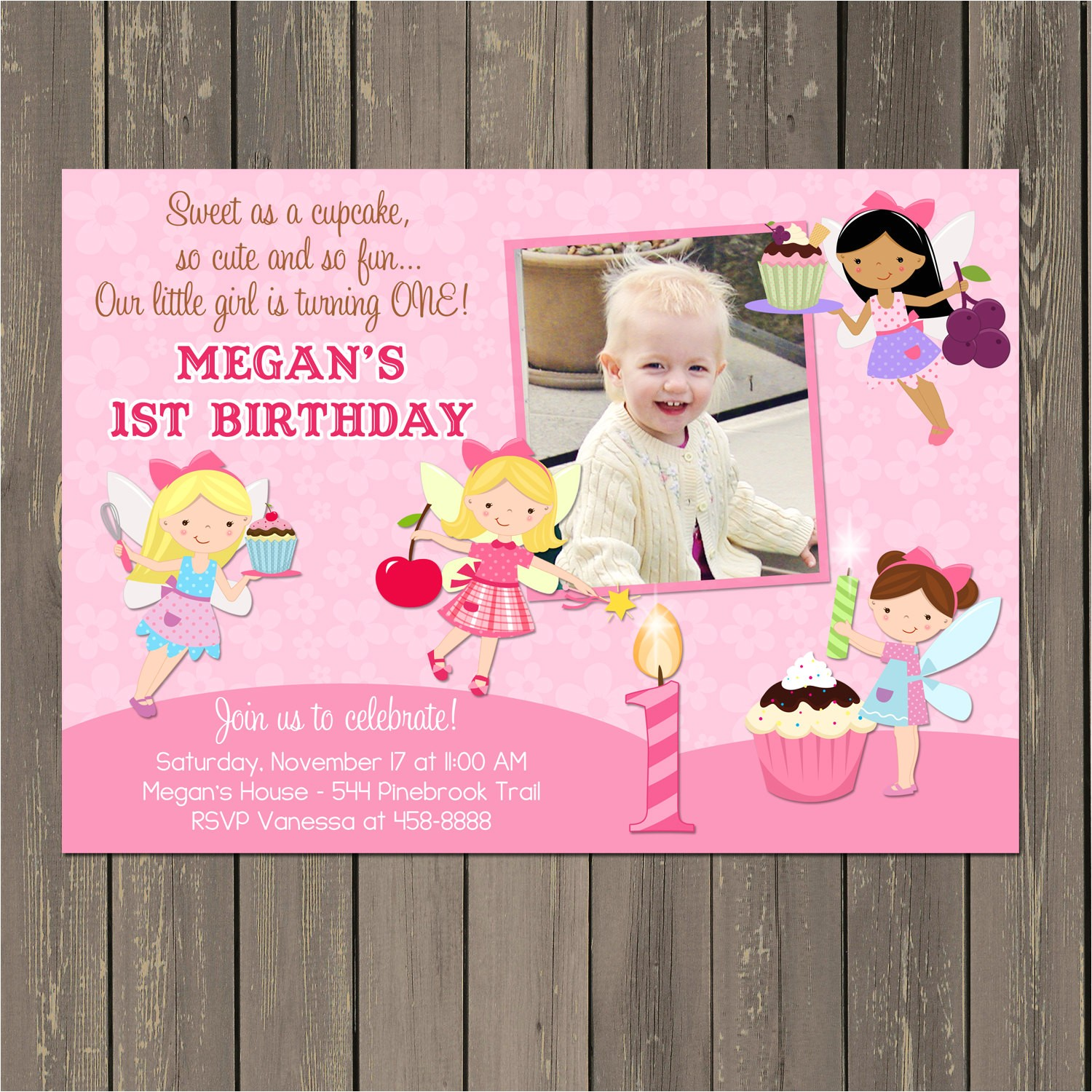 fairy birthday party invitation cupcake