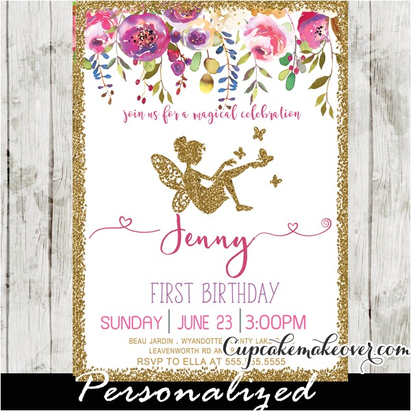 fairy first birthday invitations pink floral gold glitter