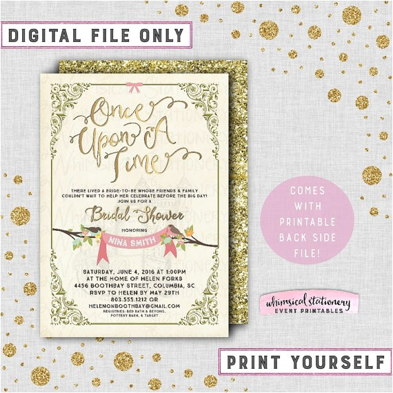 bridal shower invitation once time printable