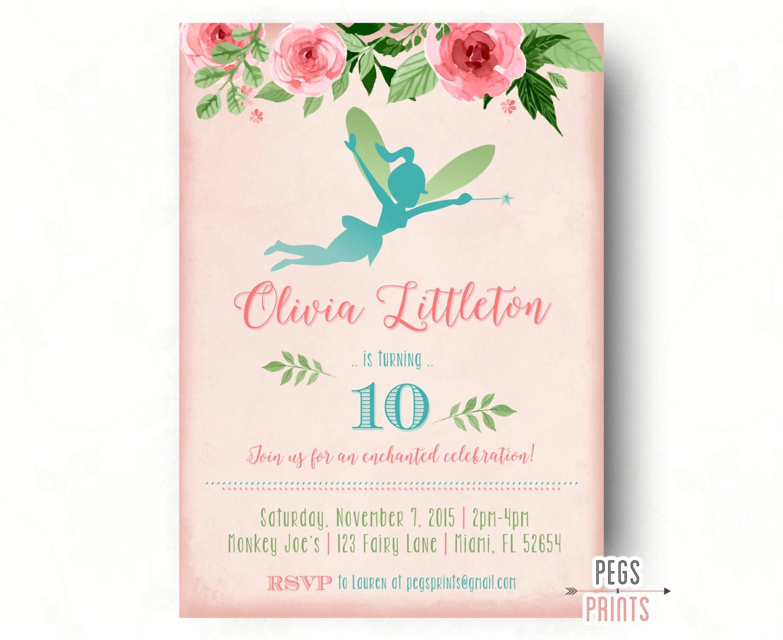 fairy princess birthday invitation fairy