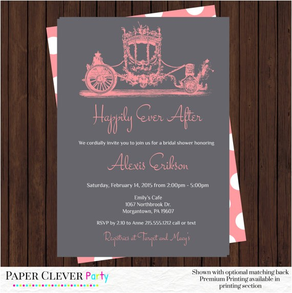 fairy tale bridal shower invitations coral wedding shower invites vintage horse and carriage printed or printable digital file