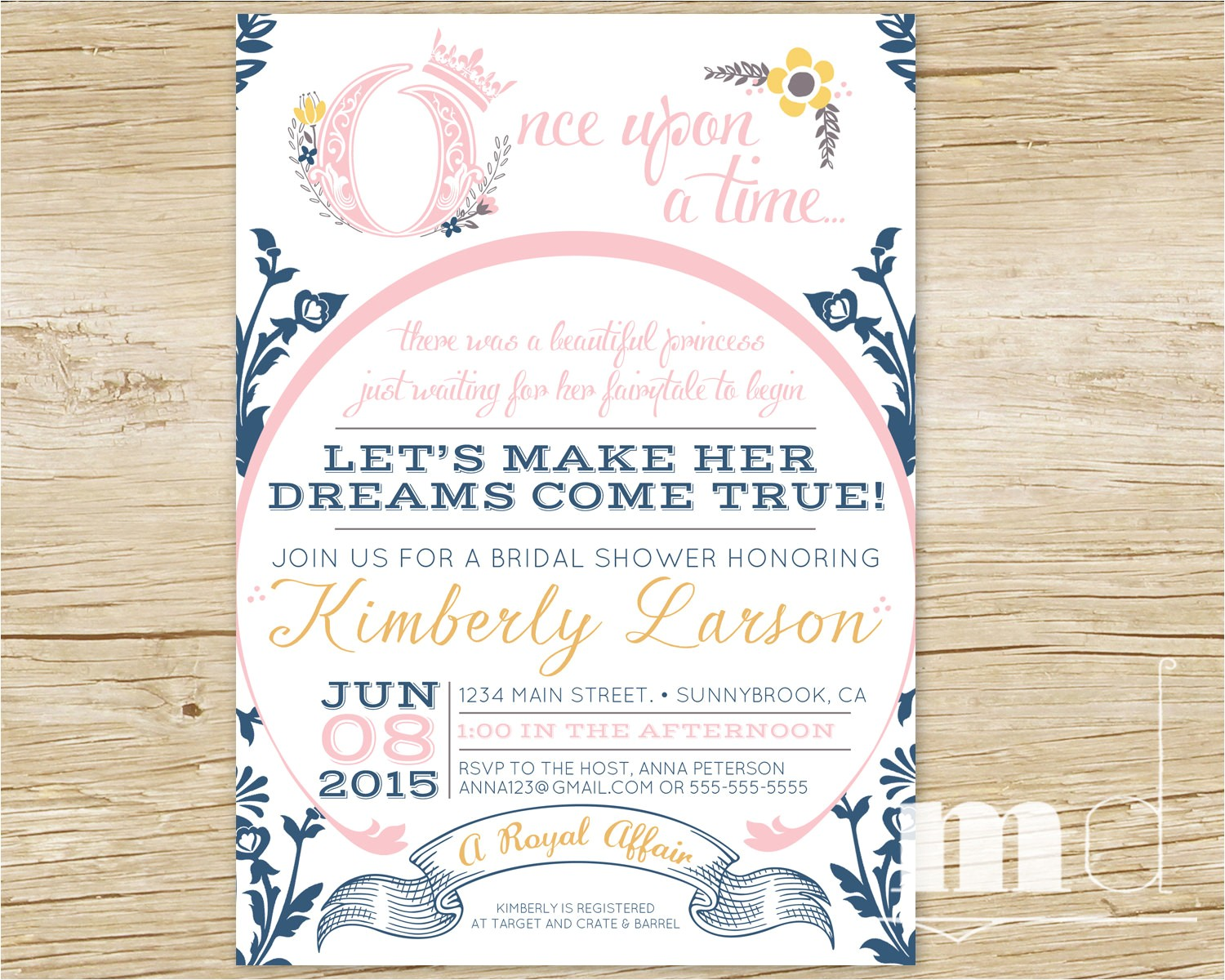 fairytale bridal shower invitation