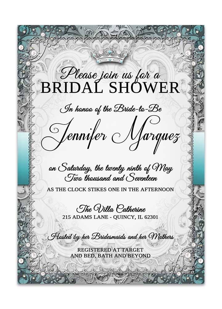 vintage fairytale bridal shower invitation silver