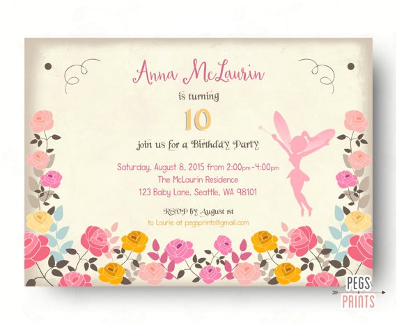 fairy birthday invitation fairy birthday