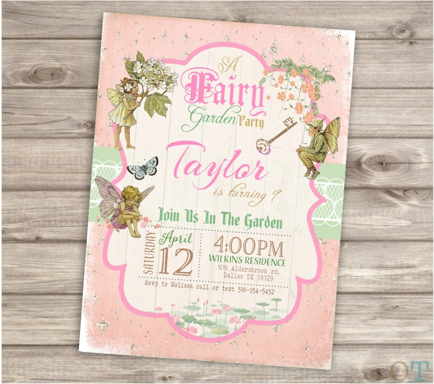 fairy woodland invitations shabby chic