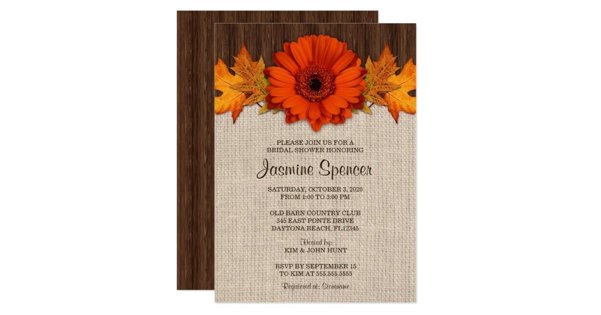 rustic fall bridal shower invitation template