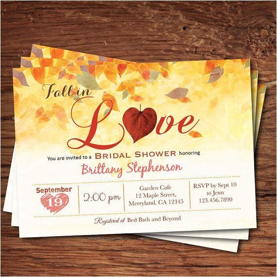 fall bridal shower invitation fall in love bridal shower rustic autumn leaves bridal shower printable digital invite bs117