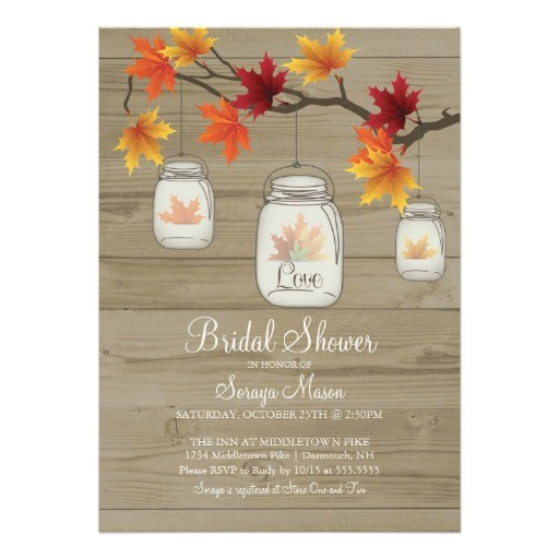 fall leaves mason jar bridal shower wood grain invitation
