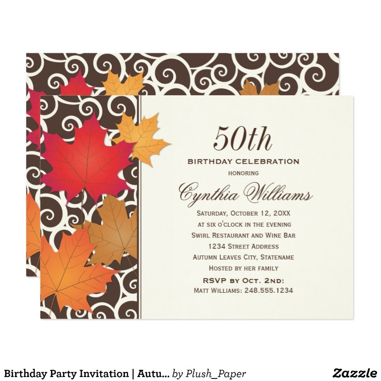 birthday party invitation autumn fall theme 161404445192479585