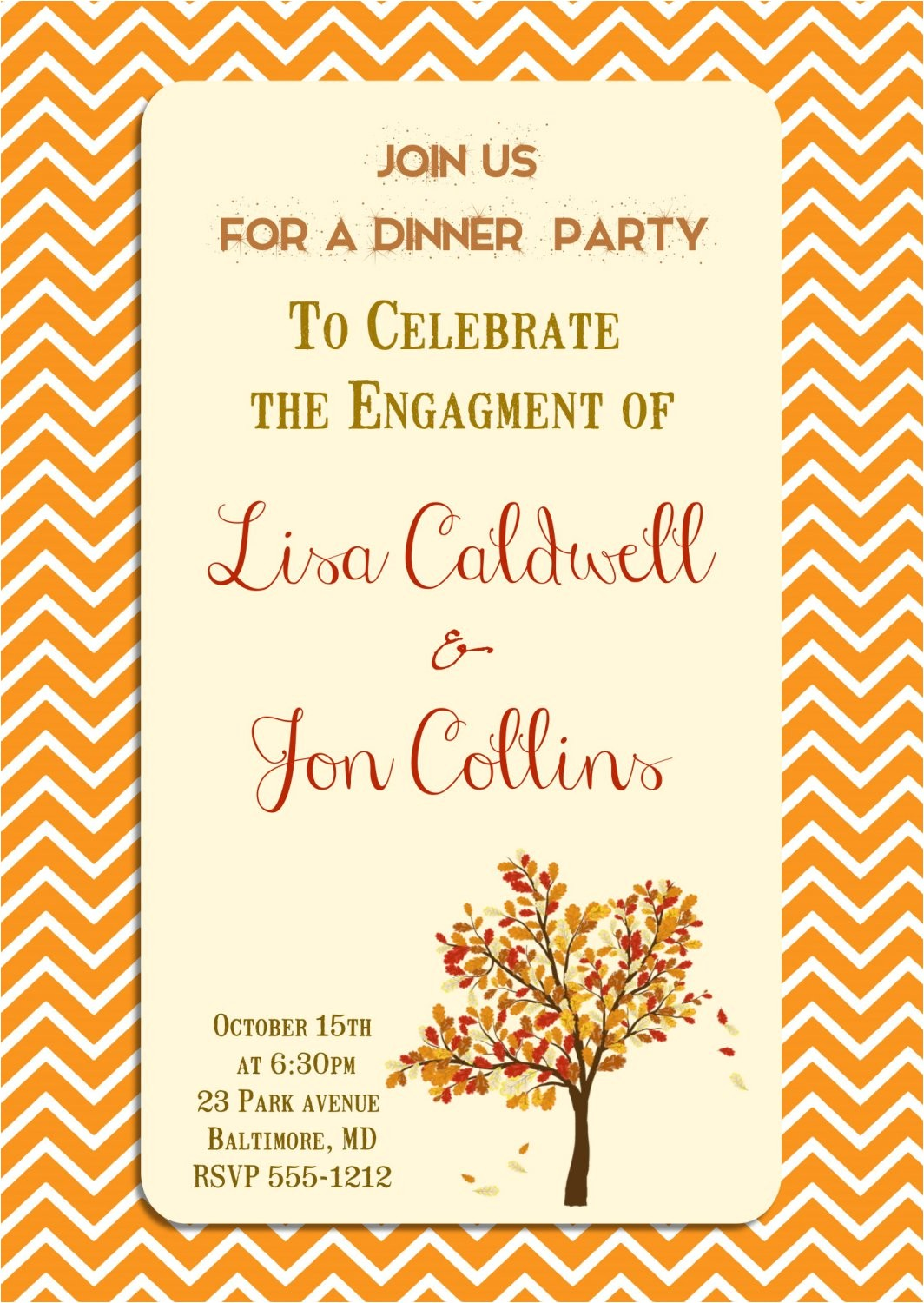 engagement party invitation autumn themed