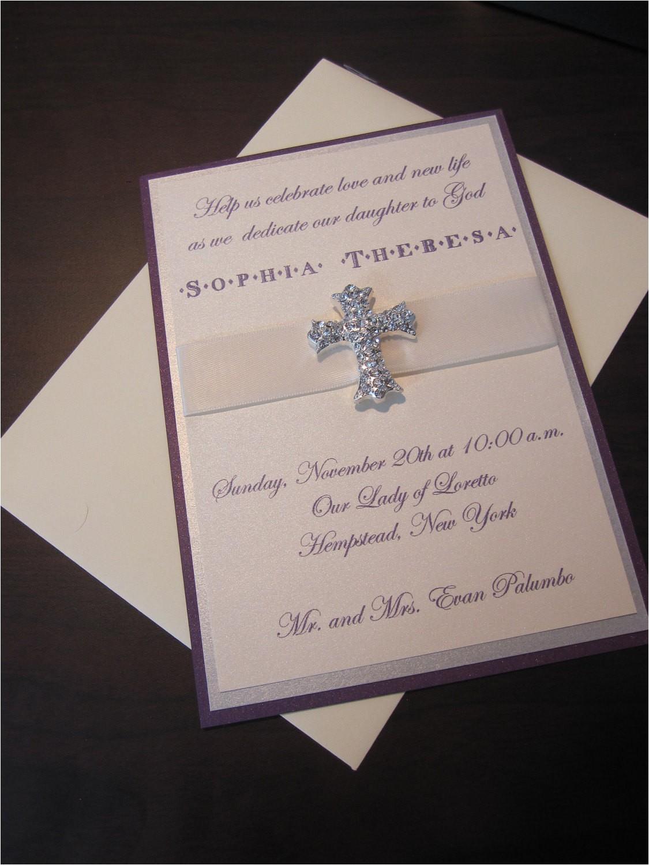 Fancy Baptism Invitations Munion Baptism Christening Cross Fancy Purple Silver and