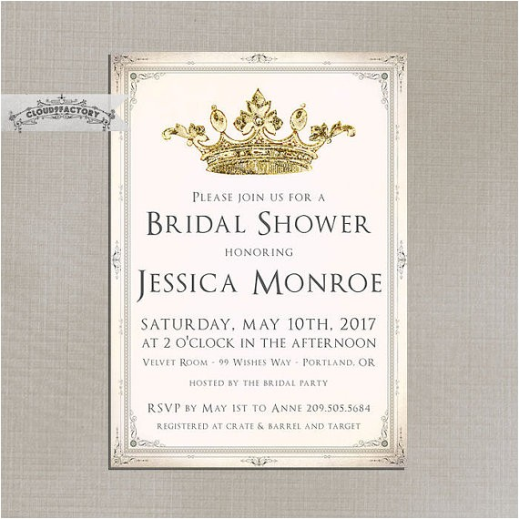 blush pink and gold bridal shower invitations fancy crown princess queen elegant vintage formal luncheon brunch high tea party no786
