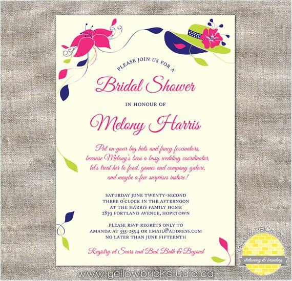 fancy hat bridal shower invitations