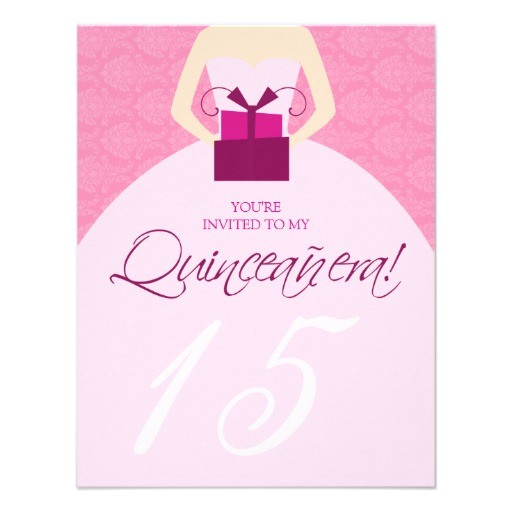 fancy ball gown quinceanera invitation pink 161570505122371584