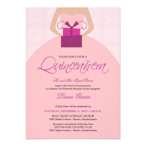 Fancy Quinceanera Invitations Fancy Ball Gown Quinceanera Invitation Pink 5 Quot X 7