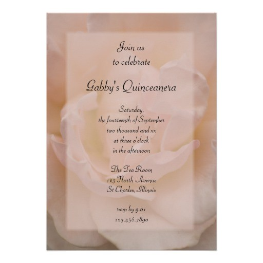 fancy pink rose quinceanera party invitation 161827632356894252