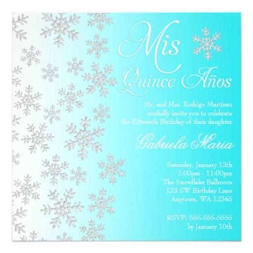 fancy teal snowflake winter wonderland quinceanera invitation 161627681626271867