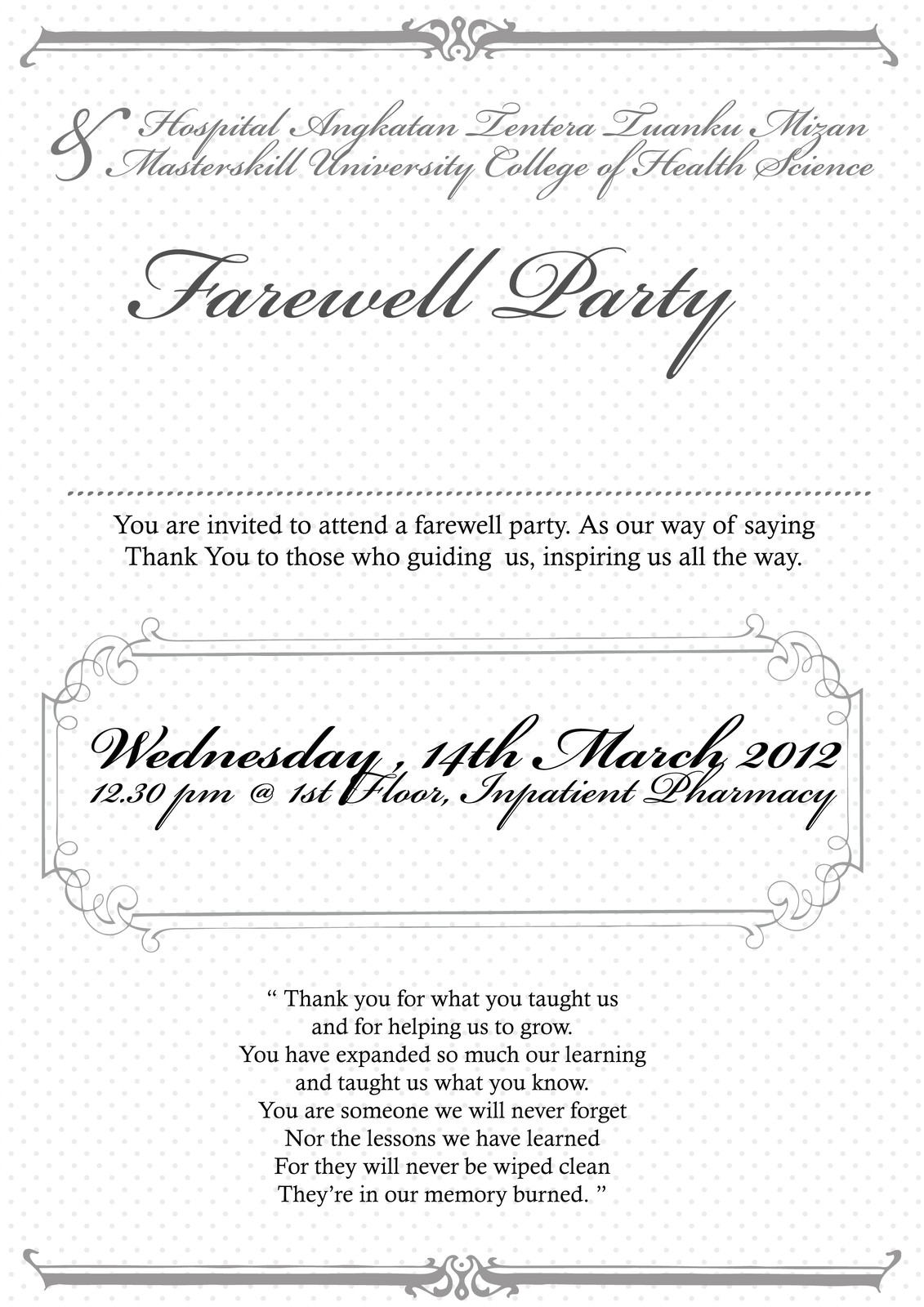 farewell party invitation email