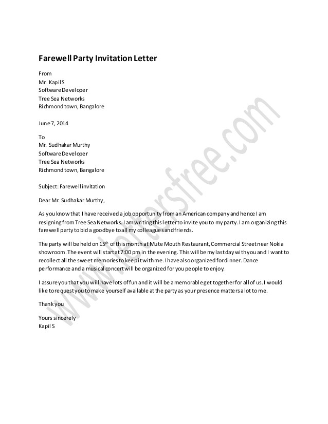 farewell party invitation letter sample