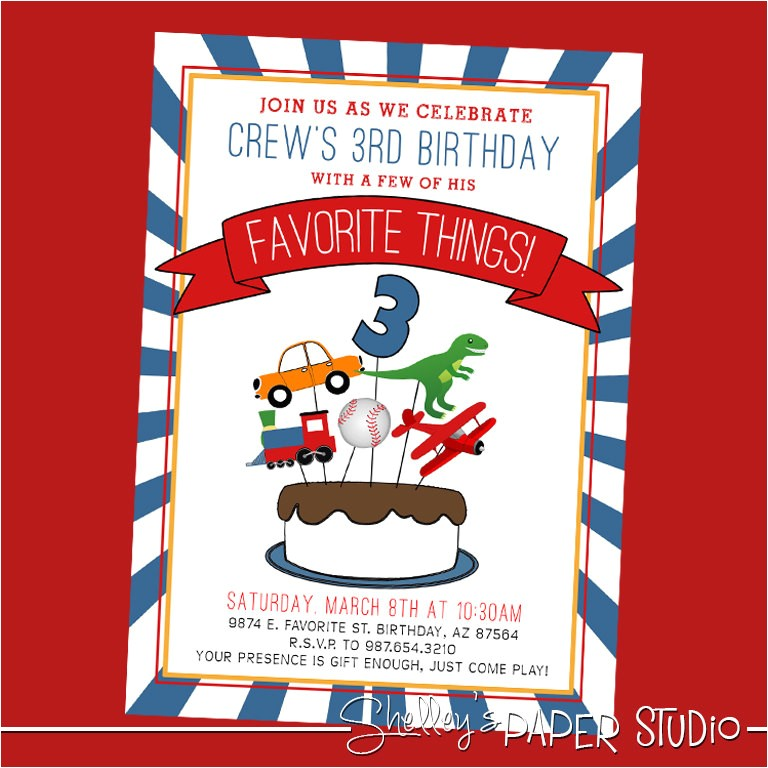 favorite things birthday party invite