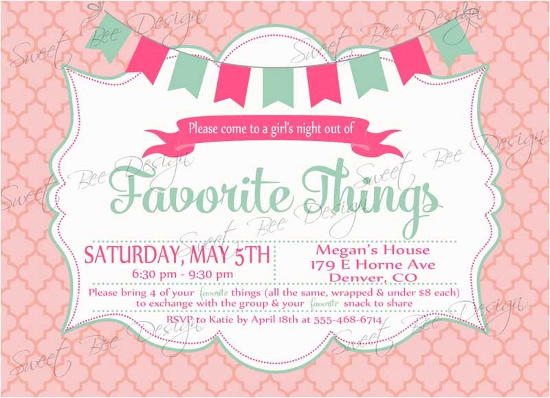 favorite things party invitation custom