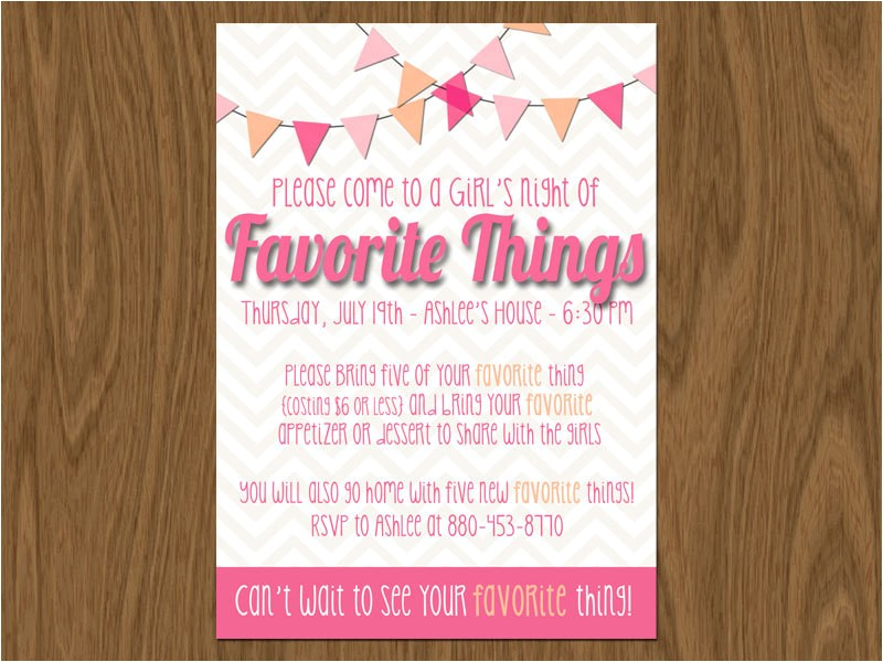 favorite things party invite 5x7 print