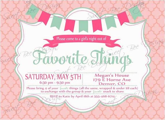 favorite things party invitation custom