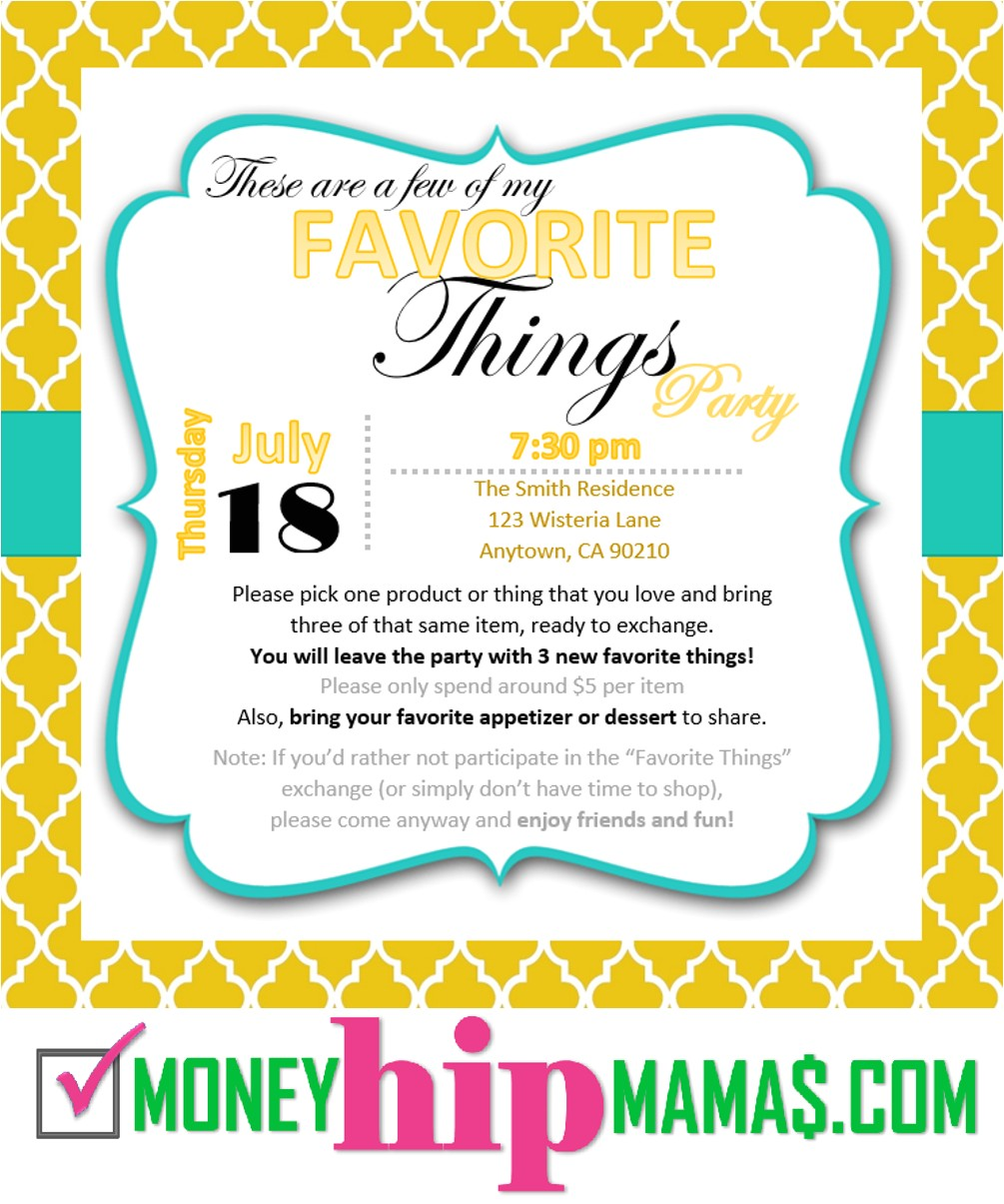 how to host my favorite things party