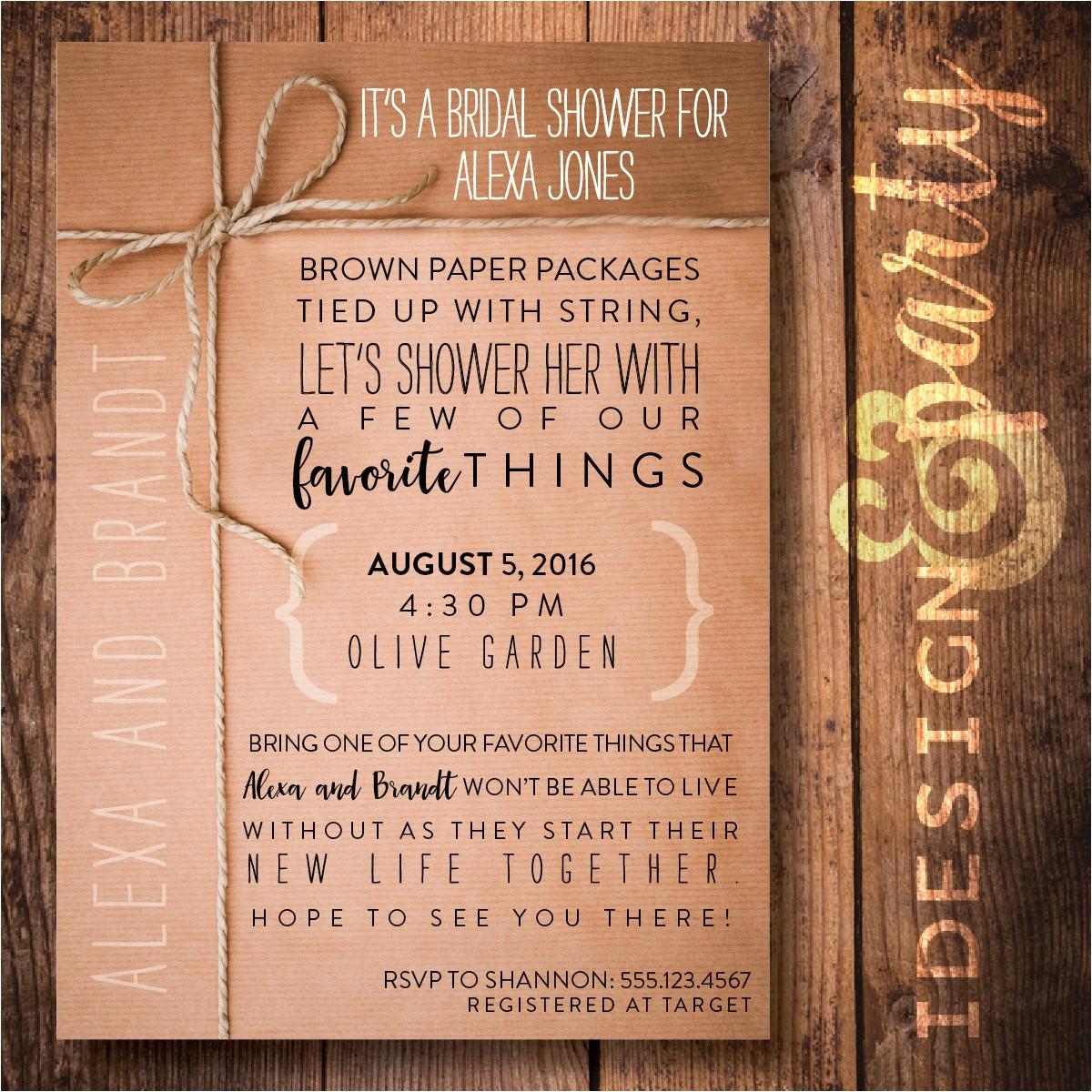 favorite things shower invitation bridal
