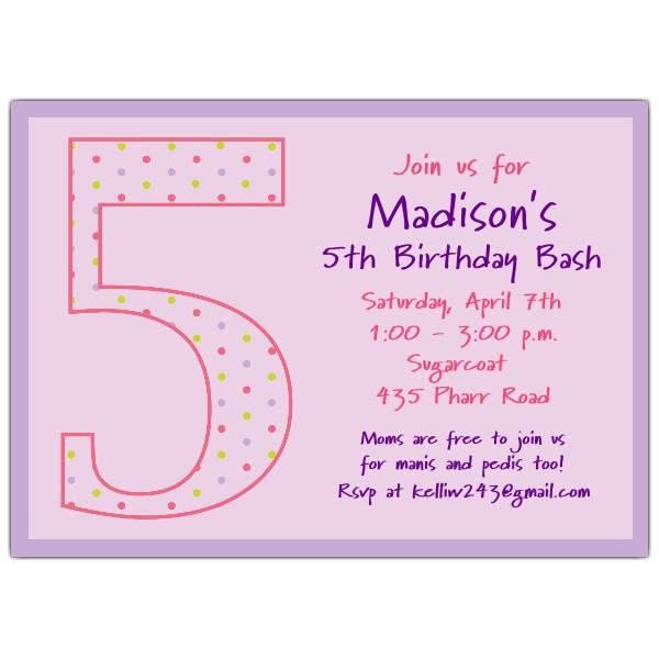 5th birthday girl dots birthday invitations p 602 57 1038