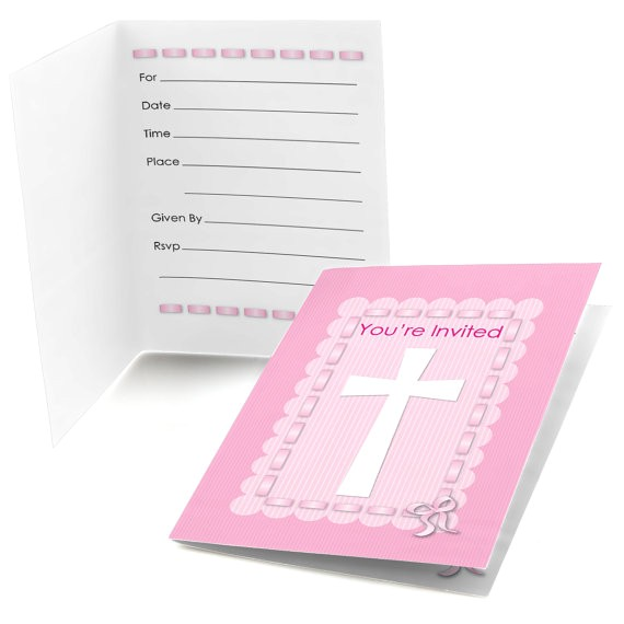 delicate pink cross party fill invitations