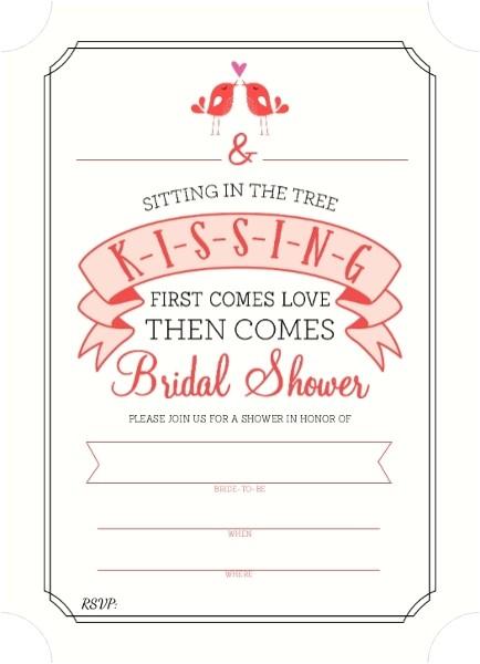 k i s s i n g bridal shower fill in the blank invitation