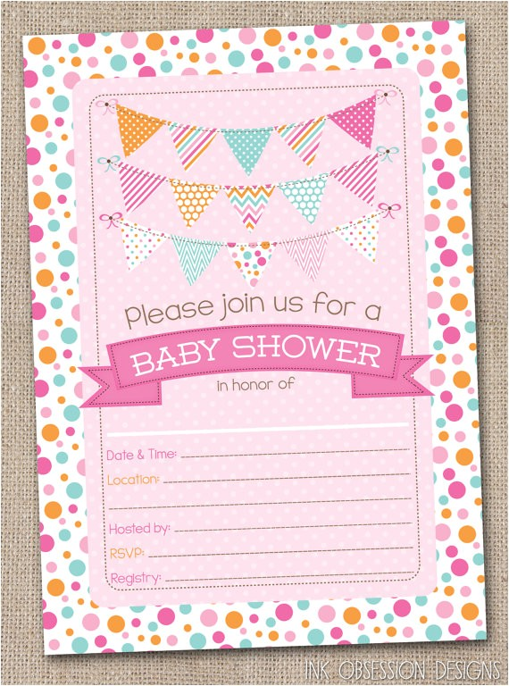 Fillable Baby Shower Invitations Fill In Baby Shower Invitations Polka Dotty by