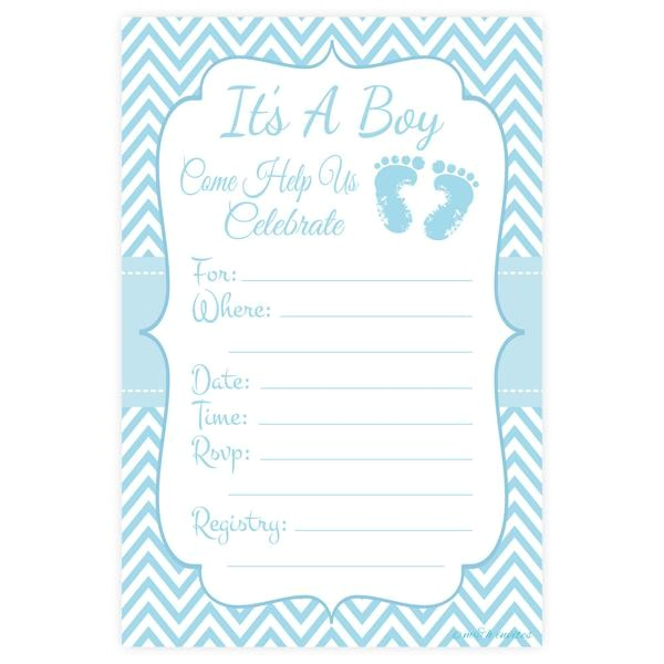 blue feet boy baby shower invitations