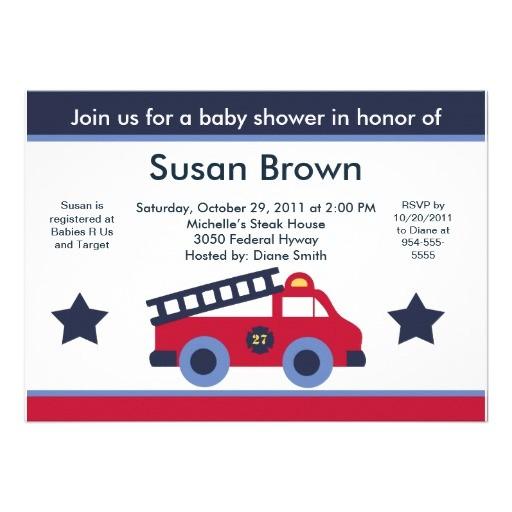 fire engine truck baby shower invitation