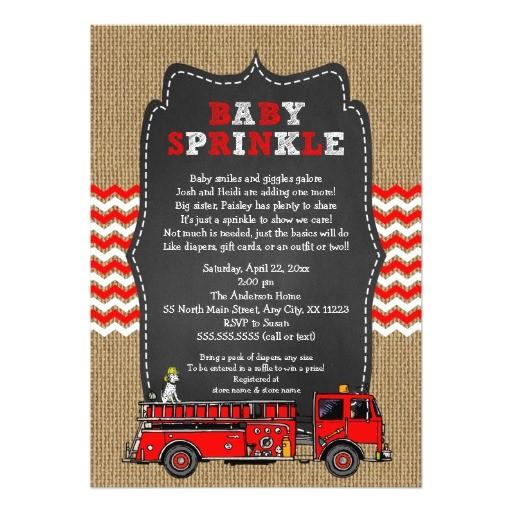 fire truck baby sprinkle invite boy baby shower