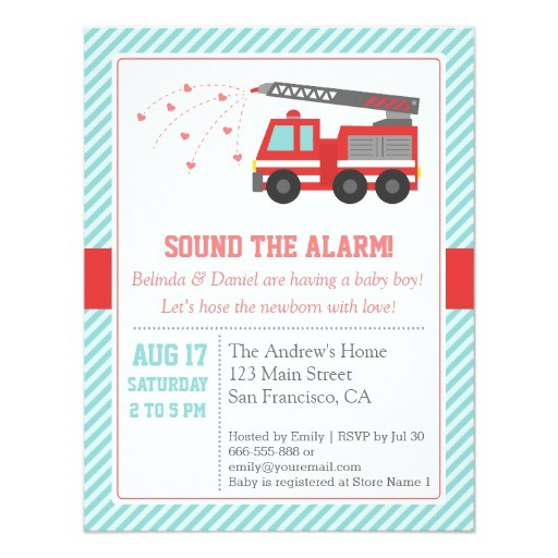 red fire truck baby shower party invitation