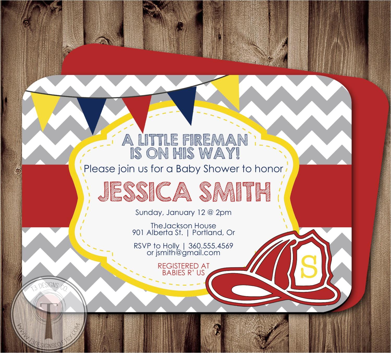 fireman baby shower invitation fire