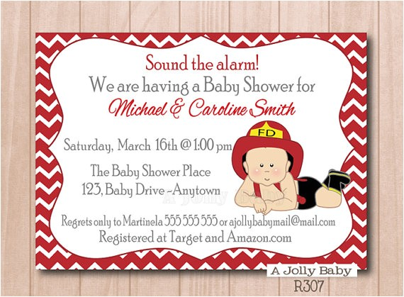firefighter baby shower invitation cute