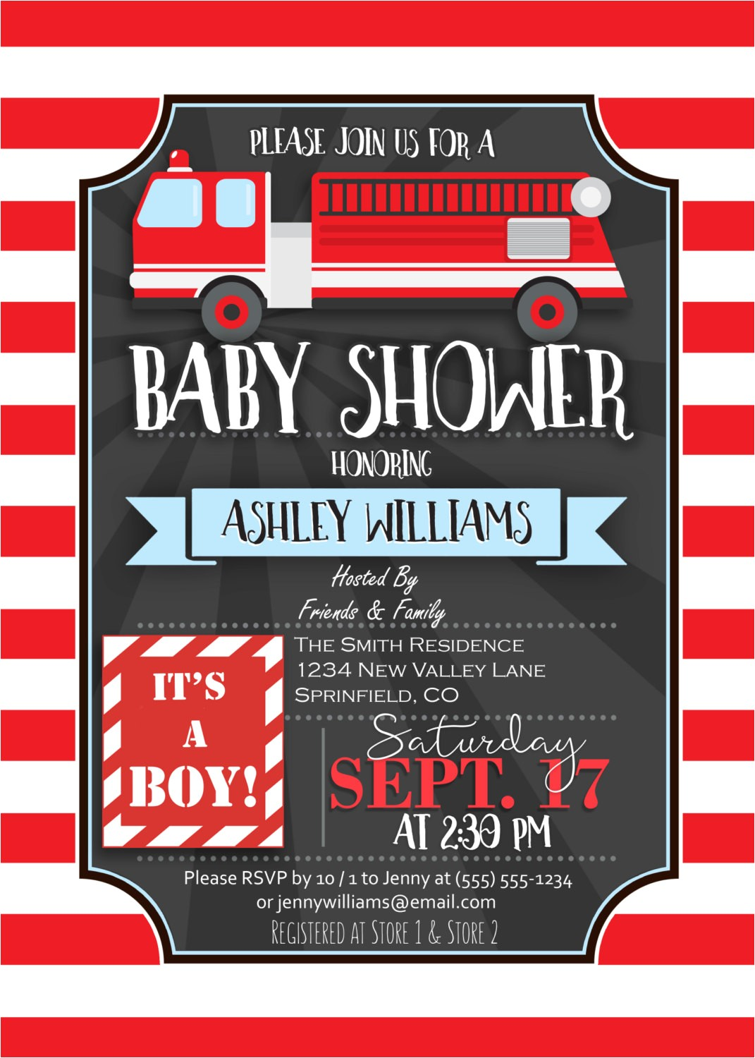 fire truck baby shower invitation personalized printable digital file firefighter themed invite