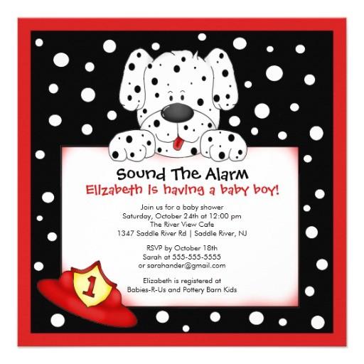 dalmatian fireman boy baby shower invitation