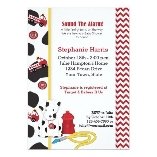 fireman baby shower invitation