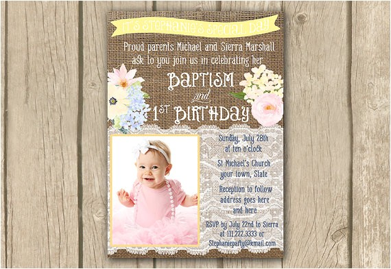 pastel baptism 1st birthday invitation