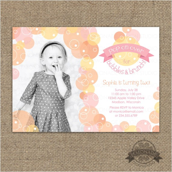 bubbles and brunch invitation bubble
