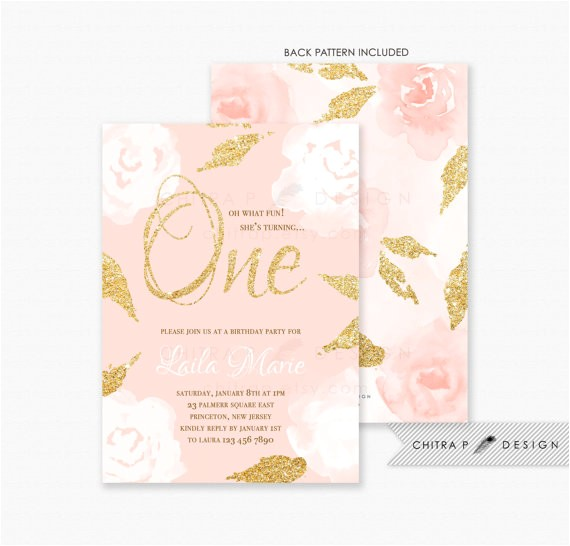 girl first birthday invitations printed pink