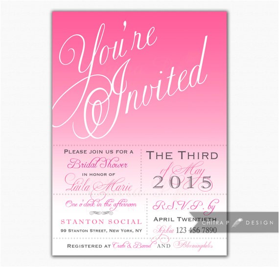 pink bridal shower invitations printed or printable wedding invite typography ombre girl princess first birthday rose brunch tea 022