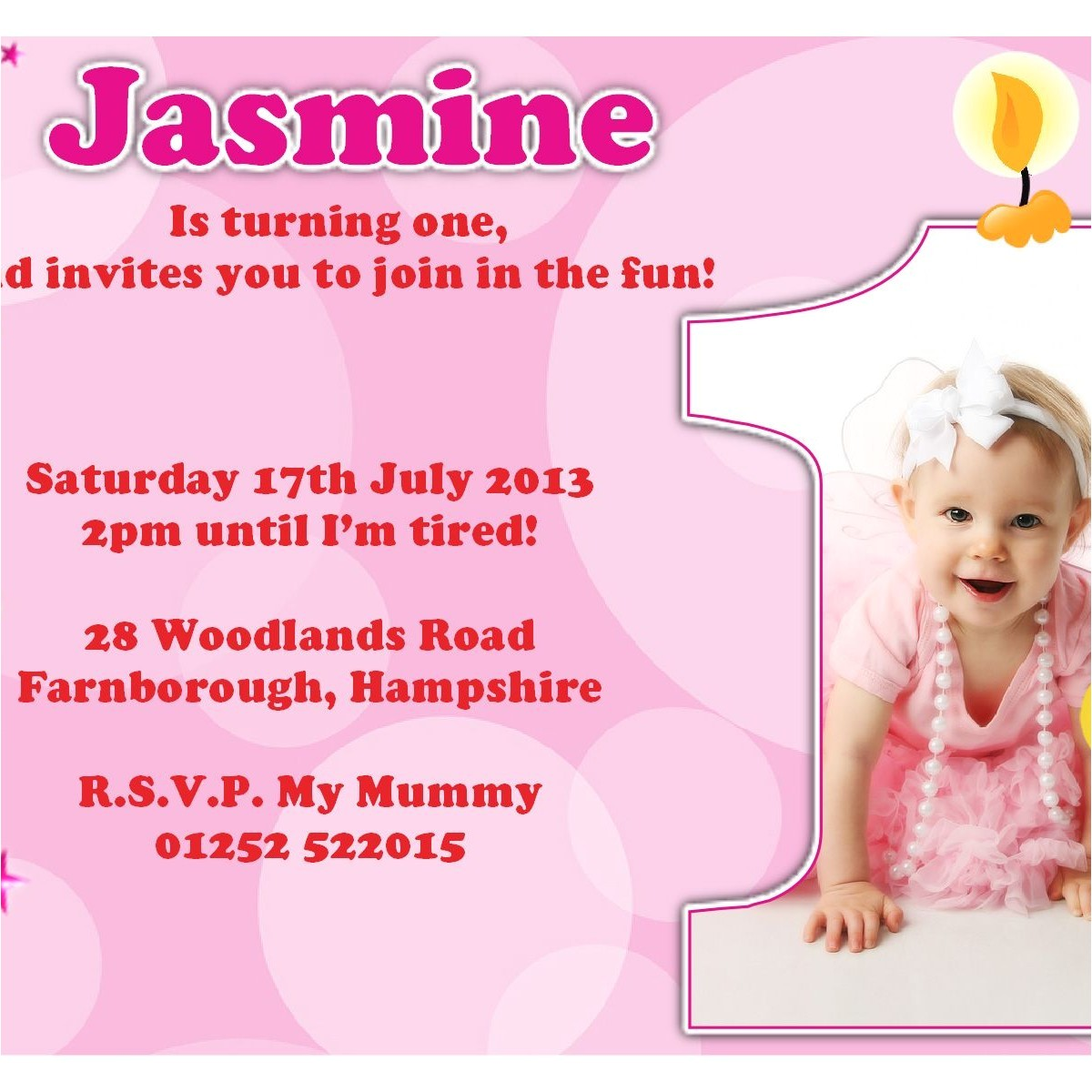 1st birthday invitation card wordings